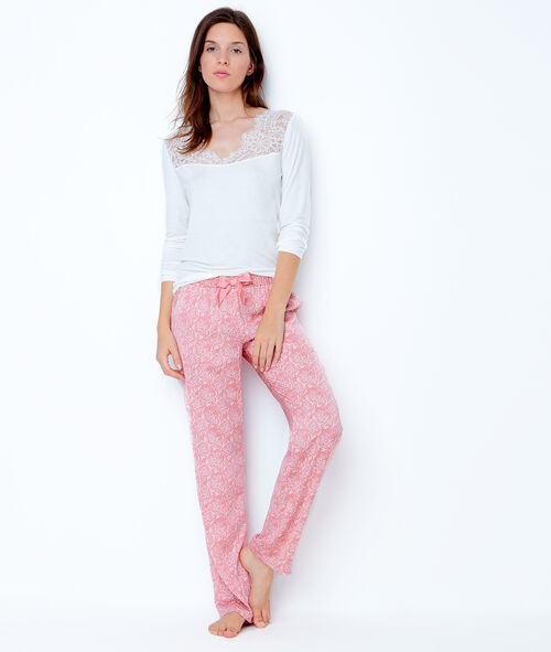 Pantalon imprimé bicolore;${refinementColor}