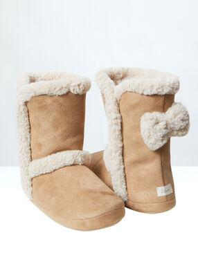 Bottines chaussons fourrées noeuds au dos camel.