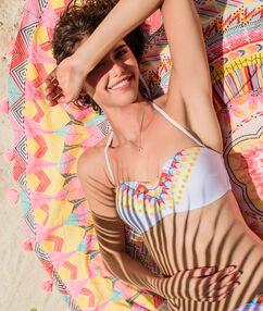 Haut de maillot de bain bandeau imprimé multicolore bohême blanc.
