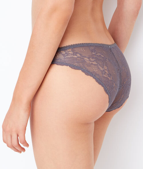 Printed micro and lace knickers;${refinementColor}