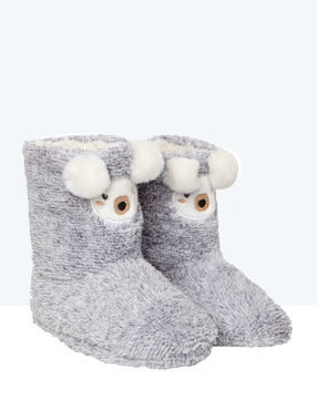 Faux fur slipper boots grey.