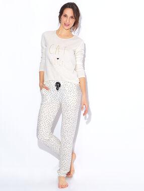 Printed pyjama top beige.