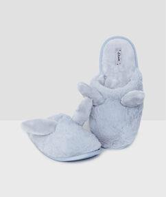 Zapatillas tejido peluche con orejas conejo c.gris.