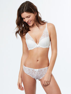 Lace triangle push up bra white.