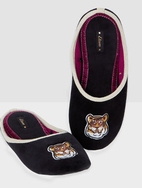 Tiger velvet slippers black.