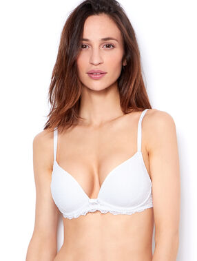 Soft bra : wireless lace push up bra white.