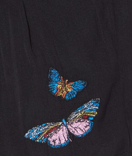 Pyjama shorts, embroidered butterflies;${refinementColor}