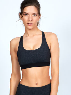 Sport bra, ultra-strech and ultra-breathable material, racer back grey.