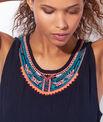 Robe de plage bimatière, encolure perles, détail pompons *FLUO*