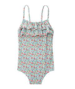 Jednoczęściowy kostium kąpielowy dla dziewczynki 4-8 lat bleu.
