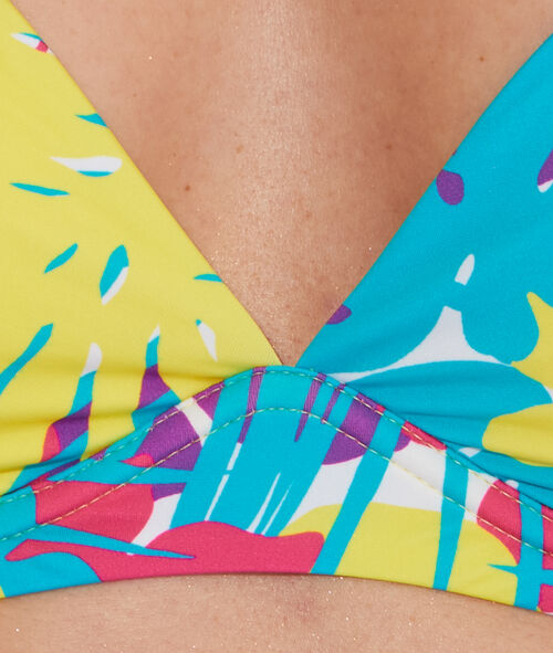 Haut de maillot de bain triangle imprimé armatures souples;${refinementColor}