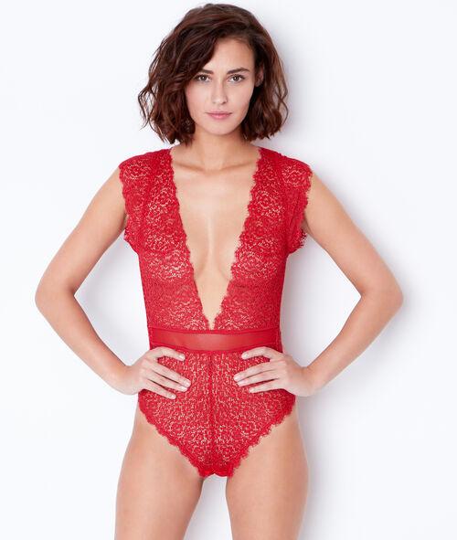 Lace and mesh bodysuit;${refinementColor}