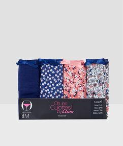Lots de 4 culottes coton multicolore.