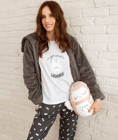 Pyjama 3 pîèces imprimé gris.