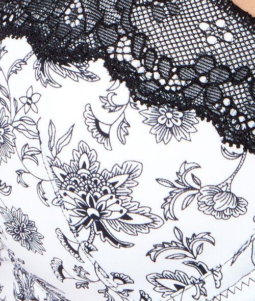 Printed micro padded demi cup bra;${refinementColor}
