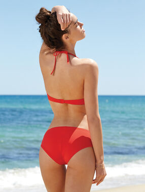 Haut de maillot de bain magic up® tour de cou drapé rouge.