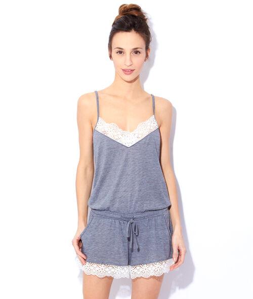 Pyjashort ceinturé taille, détail dentelle