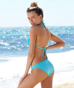 Haut de maillot de bain triangle push up drapé turquoise.