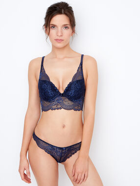Lace triangle bra, push up navy blue.