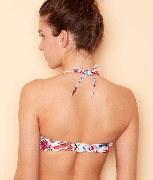 Haut de maillot de bain bandeau imprimé fleurs folk;${refinementColor}