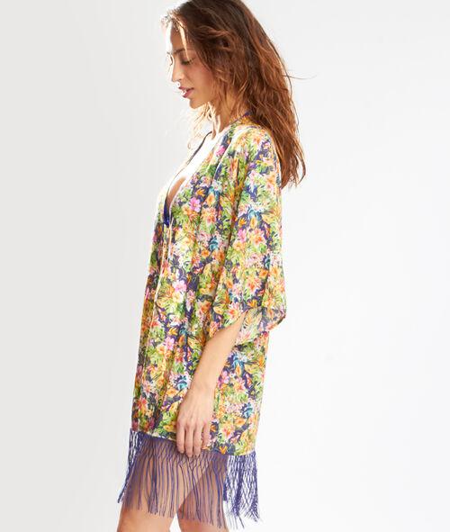 Kimono à franges imprimé savane