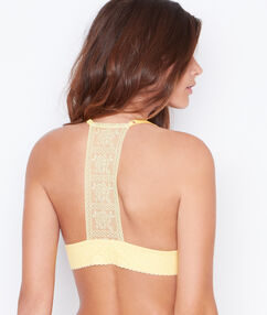 Lace triangle bra yellow.