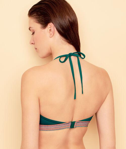 Haut de maillot de bain triangle, avec détail élastique multicolore;${refinementColor}