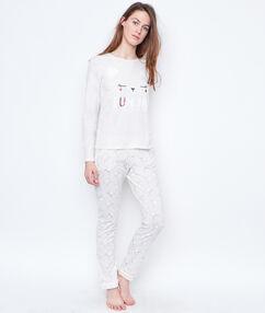 Trzyczęściowa piżama kot ze spodniami w deseń i bluzą polarową beige.