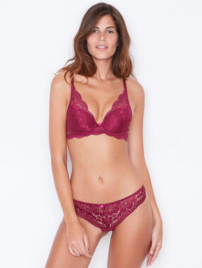 Lace triangle bra purple.