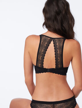 Lace padded demi cup bra, d cup black.