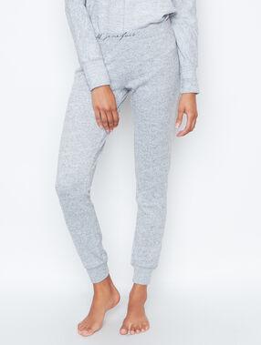 Pantalon molletonné maille chinée gris.