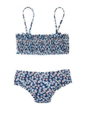 Ensemble de maillot de bain fillette bandeau + culotte imprimé liberty bleu.