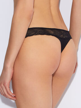 Lace and micro thong black.