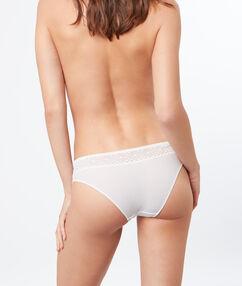 Culotte bi-matière blanc.