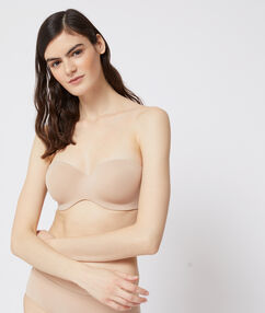 Micro bandeau bra, removable straps, d cup natural.