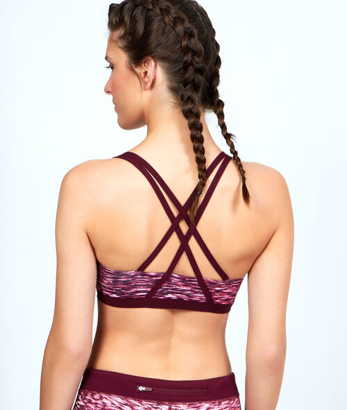 Printed sport bra, reshaping effect, racer back;${refinementColor}