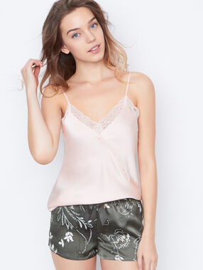 Satin lace top pink.