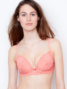 Padded demi cup bra, d cup coral.