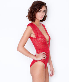 Lace and mesh bodysuit red.
