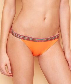 Braguita bikini banda multicolor melocotón.