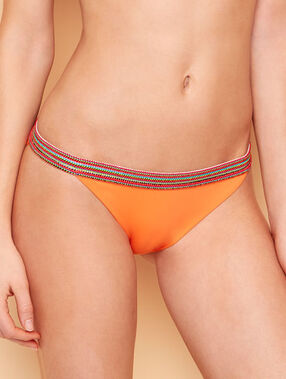 Culotte de bain avec détail élastique multicolore abricot.