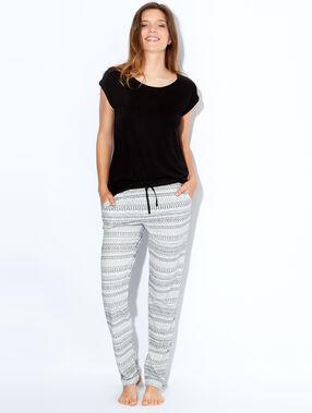 Pantalon imprimé éthnique noir / écru.