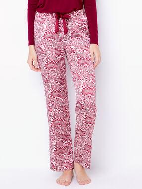 Pantalon large imprimé fleuri bordeaux.