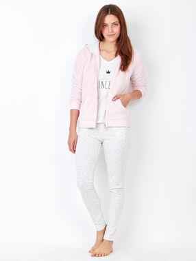 Piżama trzyczęściowa, spodnie z nadrukiem i bluza polarowa w dotyku rose.