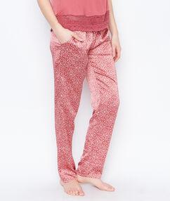 Pantalon satin imprimé rose.