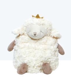 Maskotka-schowek na piżamę owieczka, detal korona écru.