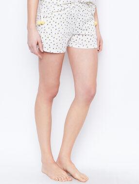 Printed pyjama shorts beige.