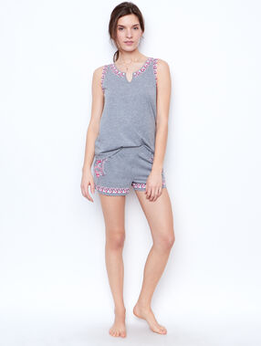 Printed pyjama shorts grey.