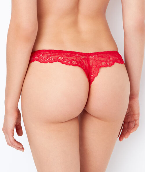 Lace and satin tanga;${refinementColor}