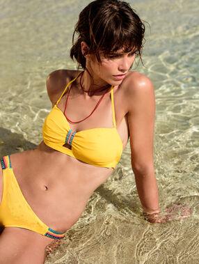 Haut de maillot de bain bandeau façon bustier bracelet aztèque jaune.